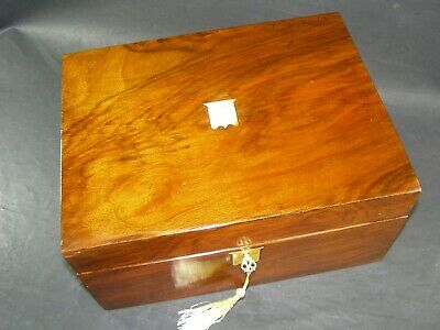 Antique Walnut Document Box Working Lock & Key c1880 Brass Shield Center