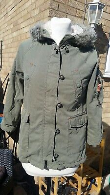 Johnnie B (Boden) Parka Jacket Coat Khaki Green Age 12 - 13 Girls Furry Lining