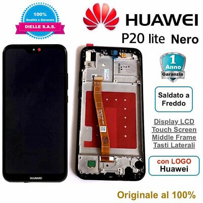 Display Originale  LCD e Touch Screen Middle Frame HUAWEI P20 Lite ANE-LX1 Nero