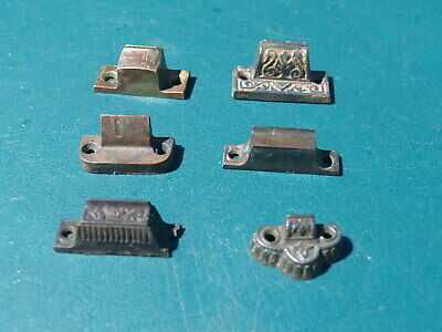 Lot Of 6 Antique Catches For Cabinet Latches,  Victorian, Brass & Cast Iron