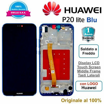 Display Originale LCD e Touch Screen Middle Frame HUAWEI P20 Lite ANE-LX1 Blu