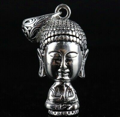 Collect China Old Miao Silver Hand Carve Maitreya Buddha Unique Lovely Pendant