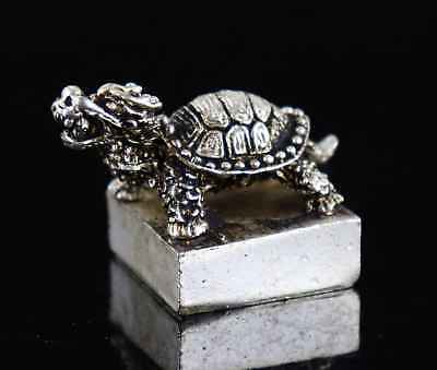 Collect China Tibet Silver Hand Carve Dragon-Tortoise Exorcism Noble Seal Statue