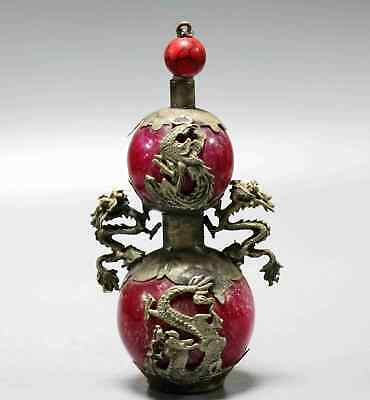Collectable Tibet Silver Carve Dragon & Phenix Inlay Agate Precious Snuff Bottle