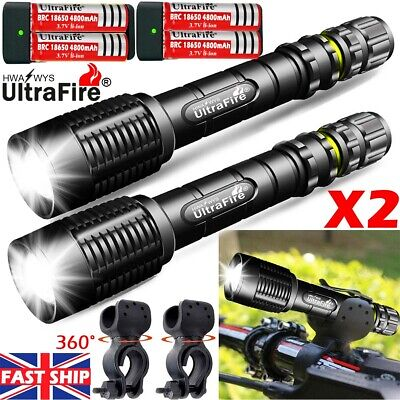 UK 350000LM Tactical Zoom T6 LED 18650 Flashlight Torch Headlamp Bike Light Camp