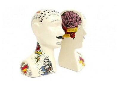Porcelain Phrenology Head Bookends - Library Study Room Decor Ornament