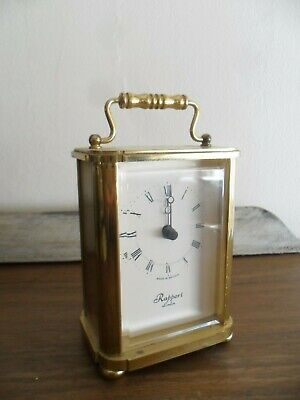 Vintage Rapport London Battery Brass Carriage Clock  Heavy.- Working.