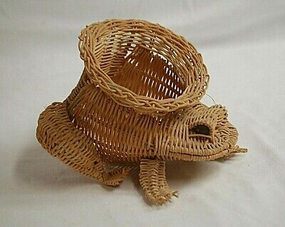 "Old Vintage Rustic Art Wicker Frog Display Basket Figurine w Marble Eyes 6"" Tall"
