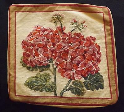 CHELSEA TEXTILES Hand Embroidered Needlework Cushion Cover GERANIUMS Flowers