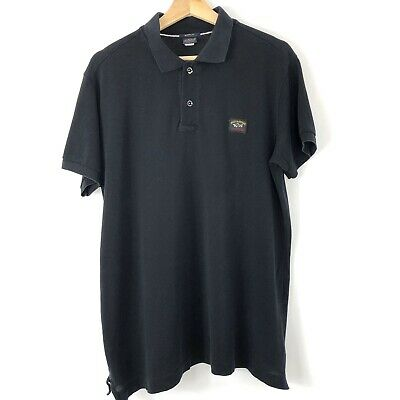 Mens Paul and Shark Black Button Up Short Sleeved Polo Shirt Top XL PTP 22.5""