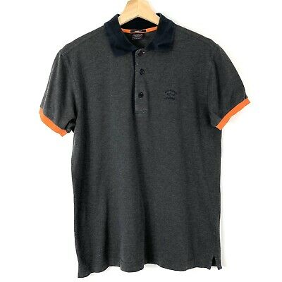 Mens Paul and Shark Grey Button Up Short Sleeved Polo Shirt Top Medium M PTP 20""