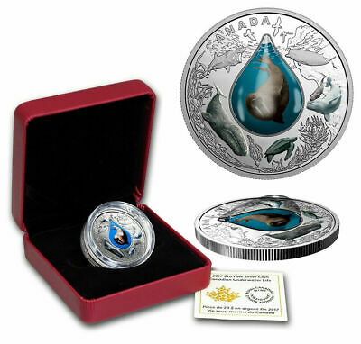"2017 CANADA $20 Silver 1 oz Proof Canadian Underwater Life in 3D ""Water"" Droplet"