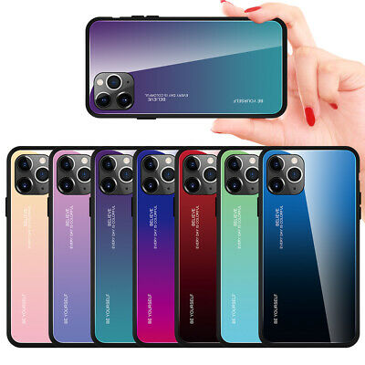 For Apple iPhone 11 Pro Max XR XS 6S 7 8 Gradient Tempered Glass Back Case Cover