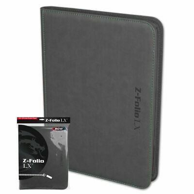 BCW GRAY Gaming Card Z-folio LX Leatherette Album 9 Pocket Pages