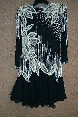 NiteLine Size 6 Long Sleeve Pearl,Beads & Sequined Multi-Color Formal Dress