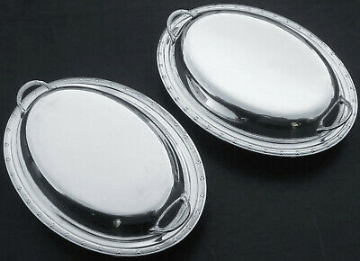 Pair Silver Plated Entree Dishes - Reed & Ribbon - Antique