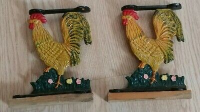 Vintage Cast Iron Rooster Shelf Brackets Set Of 2 Metal Rustic Country Kitchen
