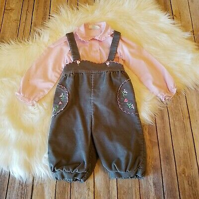 Tiny Tots Vtg Size 3T Toddler Overalls Gray Corduroy Pink White Striped Shirt