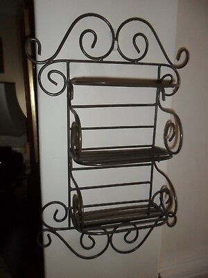 Vintage Good Quality Wrought Iron Wall Shelves. Very good condition.