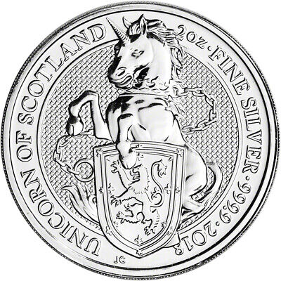 2018 Great Britain Silver Queen's Beasts - Unicorn £5 - 2 oz - BU
