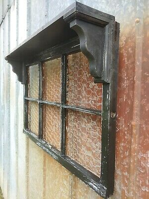 *The Perfect Gift* Antique Window Frame WALL DECOR SHELF CHICKEN WIRE DISTRESSED