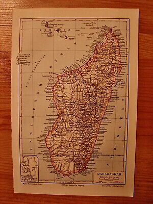 antique Landkarte map 1898 Madagaskar/Lithographie/58c