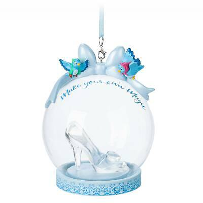 Disney Parks Cinderella Slipper Ball Blown Glass Christmas Ornament New With Tag