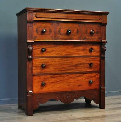 Attractive Very Large Antique Victorian Mahogany Scotch Chest Of Seven 7 Drawers