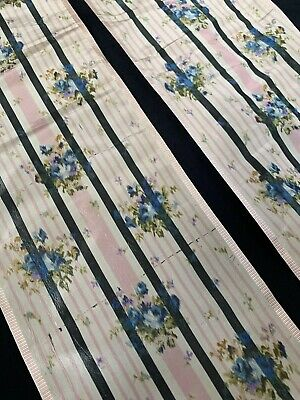 2 Large Pieces Of Antique 19th Century French Silk Ribbon 133cm