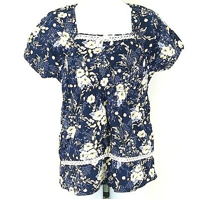 Laura Ashley Womens Top White Yellow Blue Floral Short Sleeve Lace Size XS