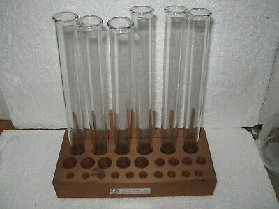 Glass Pyrex Test Tubes With Wood rack