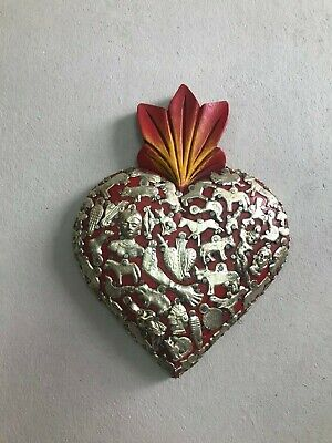 "Hand Made Milagros Wood Heart , Hand Carved ,Painted , Gifts  7.5"" X 6.5"""