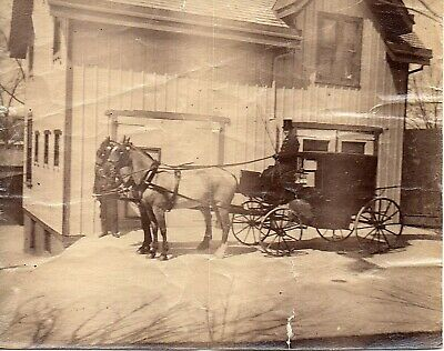 63359. Vintage 1890s Albumen Photo Mourning Carriage for Funeral Procession