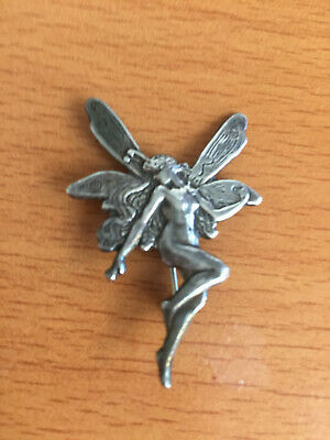 Vintage Estate Silver 925 Art Nouveau Style Winged Fairy Brooch / Pin