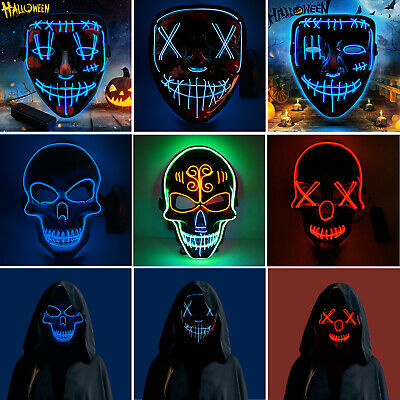 Halloween LED Glow Mask 3 Modes EL Wire Light Up The Purge Movie Costume Party C