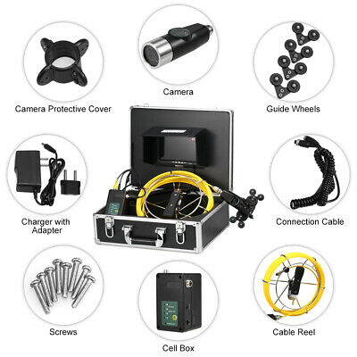 """7"""" Pipe Inspection Camera IP68 Drain Sewer Pipeline Endoscope Video Camera F4V7"""