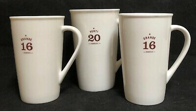 2010 Starbucks Porcelain Coffee 1 VENTI  20 oz Mug & 2 GRANDE 16 oz Mugs