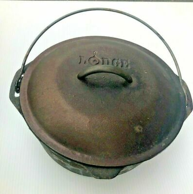 "Vintage Lodge 10 1/4"" No 8 Cast Iron Dutch Oven Pot With Lid USA 8DO"