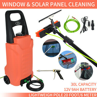 30L Rolling Water Tank with Water Fed Pole Brush Kit Window Solar Panel Cleaning