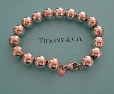 """AUTHENTIC TIFFANY & CO STERLING SILVER 10 mm BEAD BALL BRACELET 7.25""""  W/ BOX"""