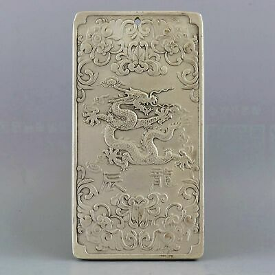 Collect Old Miao Silver Hand-Carved 12 Zodiac Dragon Moral Bring Luck Pendant