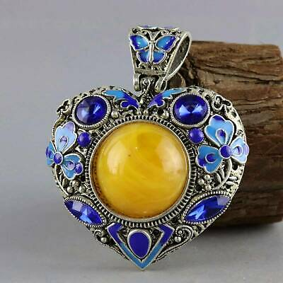 Collect Old Miao Silver Cloisonne Hand-Carved Flower Delicate Hollow Out Pendant