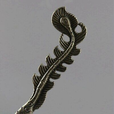 Collect China Old Miao Silver Hand-Carved Delicate Feather Shape Decor Hairpin