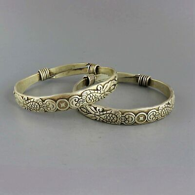 Collect Antique Miao Silver Hand-Carved Fish & Wealth Moral Bring Luck Bracelet