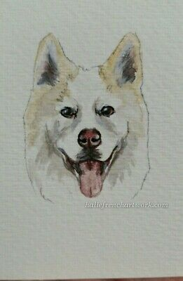 Dog Watercolor Painting Original Artwork Husky Wolf Pup howl ACEO Halie French