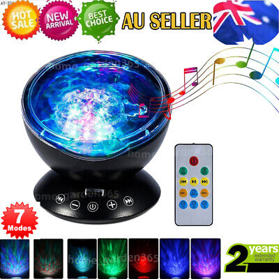 7 Colors LED Ocean Waves Projector Night Light Projection Lamp Calming Music AU