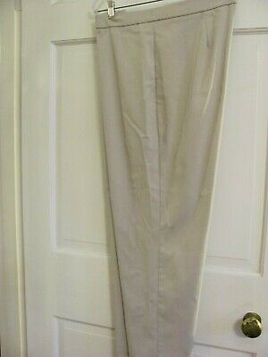 Jm Collection Women's Xl Beige Flat Front Stretch Pull On Straight Leg Pants