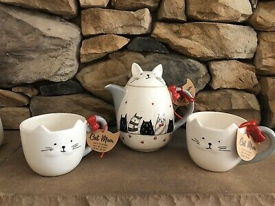 10 Strawberry Street Cat Tea Pot Mug Set NEW