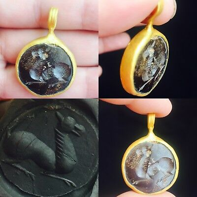 Ancient Greek Garnet stone encarved beautiful Made Gold Gilding pendant