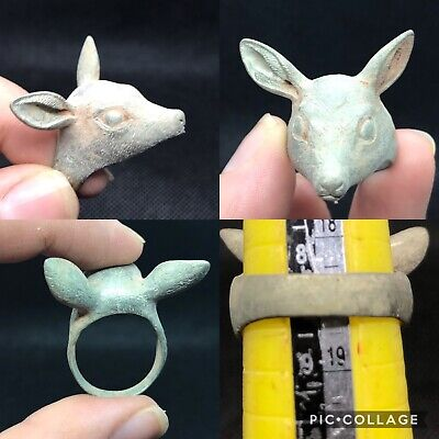 Rare wonderful post medieval unique bronze deer good luck ring